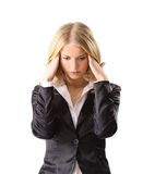 Business woman with headache Royalty Free Stock Photo