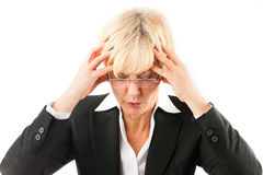 Business woman with headache or burnout Royalty Free Stock Photography