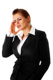 Business woman with headache holding hand at head Royalty Free Stock Photo