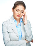 Business woman headache portrait with closed eyes on white bkg Royalty Free Stock Image