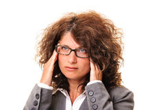 Business woman headache stress Royalty Free Stock Photography
