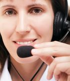 Business woman with headphone Stock Photos