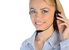 Business woman headphones Royalty Free Stock Photos