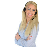 Business woman with headphones Royalty Free Stock Photo