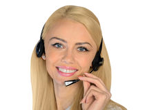 Business woman with headphones Stock Images