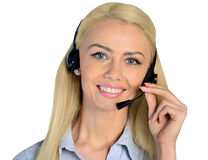 Business woman with headphones Royalty Free Stock Image