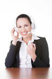 Business woman with headphones. Royalty Free Stock Images