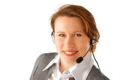 Business woman with headset. Smiling attractive business woman with headset, isolated over white background Stock Photo