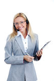 Business woman in headset Royalty Free Stock Images