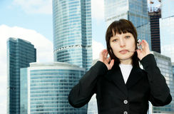 Business woman with headset Stock Photography