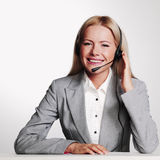 Business woman in a headset stock images
