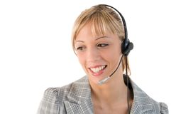 Business woman with headset. Stock Image