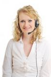 Business woman headset Royalty Free Stock Image