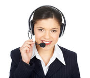Business woman with headset Royalty Free Stock Photos