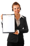 Business woman with headset and blank clipboard Royalty Free Stock Photos