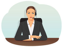 Business woman in headset Royalty Free Stock Photography