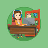 Business woman with headset working at office. Royalty Free Stock Photos