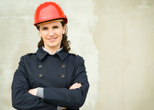 Business woman with helm