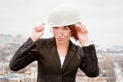 Business woman in the helmet Royalty Free Stock Photo