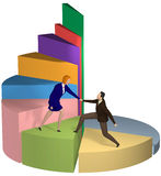 Business woman helping businessman up pie chart Royalty Free Stock Photos