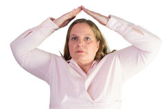 Business woman and her arms over your head Royalty Free Stock Image