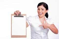 Business woman with her Clip board Royalty Free Stock Photo