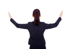 Business woman with her hands in the air Royalty Free Stock Photography
