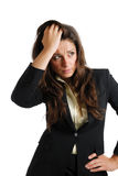 Business woman with her hands on head Royalty Free Stock Photos