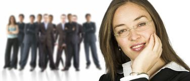 Business woman and her huge team Stock Images