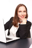 Business woman. With her Laptop royalty free stock images
