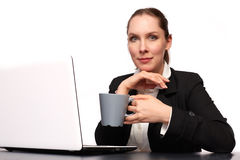 Business woman. With her Laptop royalty free stock image