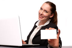 Business woman. With her Laptop stock images