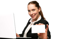 Business woman. With her Laptop royalty free stock photos