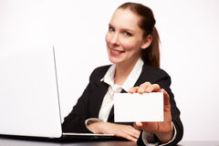 Business woman. With her Laptop Stock Image