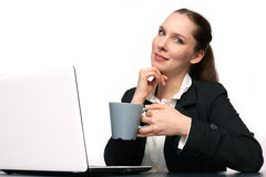 Business woman. With her Laptop stock photo