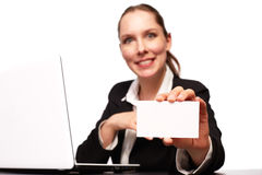 Business woman. With her Laptop royalty free stock photo