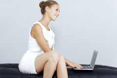 Business woman on her laptop Royalty Free Stock Images