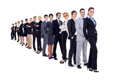 Business woman and her team. Isolated over a white background Stock Photography
