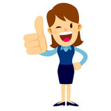 Business Woman With Her Thumbs Up Hand Sign Stock Images