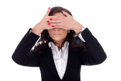 Business woman hidding her eyes Royalty Free Stock Photography