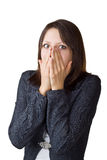 Business woman hides her face in her hands Royalty Free Stock Photos