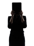 Business woman hiding computer computing  digital tablet silhoue Stock Photography