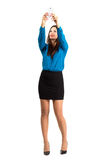Business woman in high heels and skirt taking high angle selfie or self photo. Full body length isolated over white background Royalty Free Stock Photo