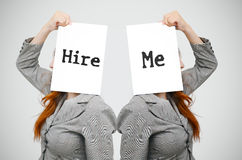 Business woman with hire me message Royalty Free Stock Photo