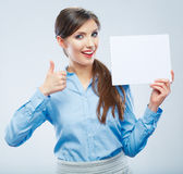Business woman hold banner, thumb show. White background portrait. Female business model. Smiling girl isolated stock image