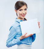 Business woman hold banner, white background isolated   portrai Stock Photo