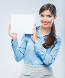 Business woman hold banner, white background  portrait. Female Stock Photography