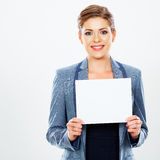 Business woman hold banner, white background  portrait. Royalty Free Stock Photo