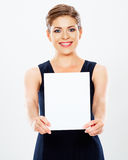 Business woman hold banner, white background  portrait Stock Image
