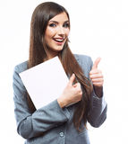 Business woman hold banner, white background  portrait. Thumb u Royalty Free Stock Images
